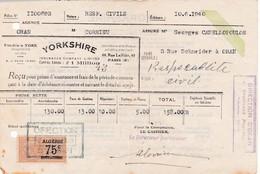T.F Impôt Du Timbre Algérie Médaillon De Tasset 75 C  Sur Quittance Oran 1940 - Otros