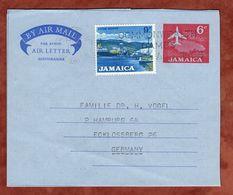Aerogramme Flugzeug + ZF, Kingston Nach Hamburg 1966 (74457) - Jamaica (1962-...)