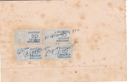 T.F Impôt Du Timbre Algérie Médaillon De Tasset 10 F X 3 & 20 F  Sur Reçu Oran 1950 - Otros