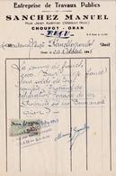 T.F Impôt Du Timbre Algérie Médaillon De Tasset 3 F Sur Facture Oran 1945 - Otros