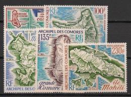 Comores - 1971-75 - Poste Aérienne PA N°Yv. 36 - 49 - 53 - 61 - 67 - Cartes / Maps - Neuf Luxe ** / MNH / Postfrisch - Komoren (1950-1975)