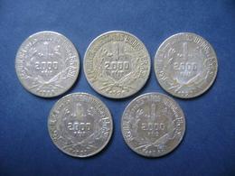 """BRAZIL / BRASIL - 5 COINS """"2000 REIS"""", SILVER / PRATA , 1924 / 1934 - Brésil"""