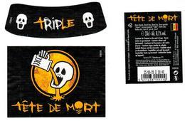Etiquette Bière Tête De Mort 33 Cl Brasserie Du Bocq, Purnode Bier Etiket Beer Label Front + Back + Collar - Birra