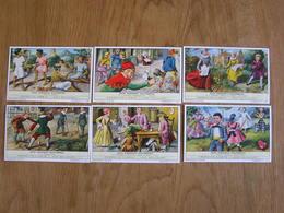 LIEBIG Jeux D'Enfants Autrefois Crécelle Bilboquet Toupie Osselets Jeu Série De 6 Chromos Trading Cards Chromo - Liebig