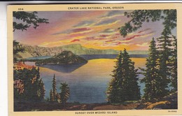 SUNSET OVER WIZARD ISLAND. CRATER LAKE NATIONAL PARK, OREGON. CT ART COLOR. CPA CIRCA 1950s - BLEUP - Etats-Unis
