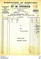 """Facture Ancienne . """"   Manufacture De Bonneterie . M .  Leventer """"  . 11 Rue Notre Dame De Nazareth .  75003 . Paris . - Textile & Vestimentaire"""