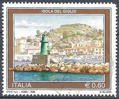 Italia, 2009 Veduta Dell'Isola Del Giglio 0.60 € # Sassone 3109 - Michel 3317 - Scott 2949 USATO - 6. 1946-.. Repubblica