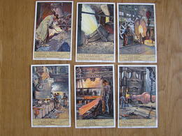LIEBIG Dans Une Acierie Métallurgie Industrie Du Fer Acier Haut Fourneau Série De 6 Chromos Trading Cards Chromo - Liebig