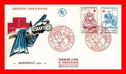 Enveloppe FDC 1er Jour * La Croix Rouge *  4 Dec 1960 à Marseille - 1960-1969