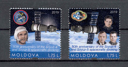Moldova 2019 Space 50 Anniversary Of The First Space Docking 2v** MNH  Personalized Stamps - Moldova