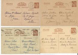1940-41- Lot De 4 Entiers Postaux IRIS SANS  Avec Cachets Différents -NOGENT S/MARNE- MIGE-AVALLON Et BRIVE LA GAILLARDE - Entiers Postaux