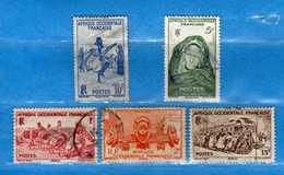 (Us3)  Afrique Occidentale Française, AOF 1947 - Yvert.24-30-33-37-40 . Oblitéré .  Vedi Descrizione - A.O.F. (1934-1959)
