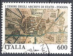 Italia, 1993 Cartina Di Foggia, 600L # Sassone 2086 - Michel 2305 - Scott 1945  USATO - 6. 1946-.. Republik