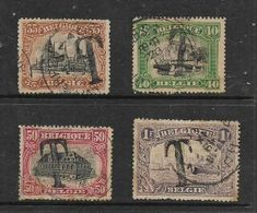 """Belgium, 1919, Postage Stamps Opt """"T"""" For Postage Due,35c, 40c, 50c, 1Fr, C.d.s. Used - Postage Due"""