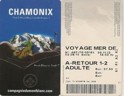 74 CHAMONIX MONT BLANC BILLET RETOUR ADULTE CHEMIN DE FER A CREMAILLERE DU MONTENVERS MER DE GLACE - Chemins De Fer