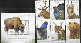 ROMANIA, 2019, MNH, PROTECTED FAUNA, BIRDS, BISON, FELINES, BEARS, DEER, LYNX, CHAMOIS, 6v+S/SHEET - Autres