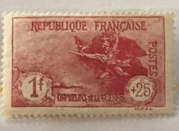 Timbres France 1926-27 YT 231 (*) Neuf MH Orphelins De La Guerre La Marseillaise De Rude 1f+25c (côte 63 Euros) – 405e - France