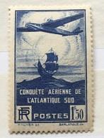 Timbre France YT 320 (*) MH 1936, 100ème Traversée Aérienne Atlantique Sud (côte 20 Euros) – 405o - Ongebruikt