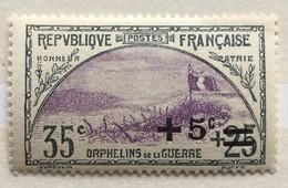 Timbre France 1922 YT 166 (*) MH Orphelins De La GuerreTranchée Et Drapeau (côte 16,5 Euros) – 453 - Frankrijk