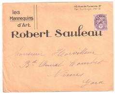 PARIS 3° Lettre Entête Mannequins D'Art SAULEAU Blanc 10c Violet Yv Préo 43 - 1893-1947