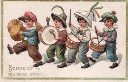 CPA Gauffrée - Bonne Et Heureuse Année - Fanfare D'enfants - Tambours - Año Nuevo