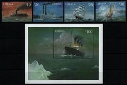 Liberia 2001 - Mi-Nr. 3822-3825 & Block 379 ** - MNH - Schiffe / Ships - Liberia