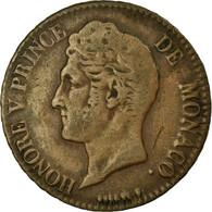 Monnaie, Monaco, Honore V, 5 Centimes, Cinq, 1837, Monaco, TB+, Cast Brass - 1819-1922 Honoré V, Charles III, Albert I