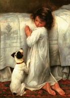 LITTLE GIRL Pray Near Bed DOG By Gore Art New Unposted Postcard - Kinderen