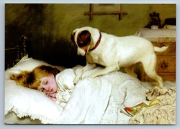 LITTLE GIRL In Bed & Dog WAKE UP By Barber New Unposted Postcard - Kinderen