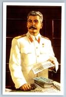 PORTRAIT Of STALIN In Work Office Soviet Propaganda Russian Postcard - Patriottiche