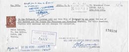 Timbre Poste Perforé 2 P. Brun Elisabeth II Sur Effet Commerce 1962 Perforation A.E.I. Société LAMP AND LIGTHING COMPANY - Perforés
