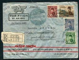 Egypte - Enveloppe Commerciale En Recommandé Du Caire Pour La France En 1949 , Affranchissement Plaisant -  Réf M70 - Egypt
