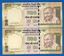 Inde  Suite  De  2  Billets   De  500  Ruppee  Neuf - Inde