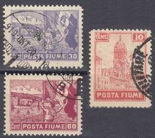 FIUME - 1919 - Lotto Di 3 Valori Usati: Yvert 50, 51 E 55, Come Da Immagine. - 8. WW I Occupation