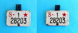 YUGOSLAVIA - Vintage Motorcycle-bicycle TWO-SIDED License Plate 1945's * Moto Motorcycle Motorbike Motorrad Motocyclette - Number Plates