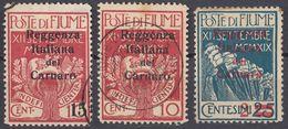 FIUME - 1919 - Lotto Di 3 Valori Usati: Yvert 115, 117 E 118, Come Da Immagine. - 8. WW I Occupation