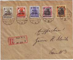 POLOGNE Serie N° 56 à 60 Sur Lettre Obl POZNAN 1919 , Germania Surcharges POLSKA - 1919-1939 République