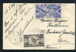 Affranchissement De Nouméa Sur Carte Postale De Canala En 1947 Pour Nice  - Réf M149 - Neukaledonien