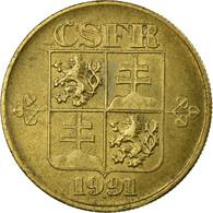 Monnaie, Tchécoslovaquie, Koruna, 1991, TB+, Copper-Aluminum, KM:151 - Tchécoslovaquie