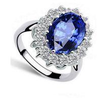 Ring Kate Nachbildung,925er Silber, Blauer Saphir,Zirkonias,Größe 56 - Bagues
