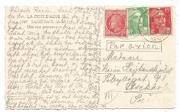 GANDON 15FR ROUGE +5FR + MAZELIN 1FR CARTE AVION ST PAUL 1949 POUR SUEDE - 1945-54 Marianne De Gandon