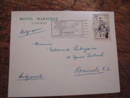 Timbre 30 F Basket Enveloppe Commerciale Hotel Martinez Cannes - Postmark Collection (Covers)