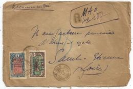 TCHAD 1FR+5C LETTRE ENVELOPPE MAL OUVERTE REC PROVISOIRE MAO 11 MAI 1926 - Chad (1922-1936)