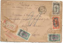 TCHAD 10C+50CX2+40C  LETTRE ENVELOPPE MAL OUVERTE REC FORT LAMY 13 MARS 1930 - Chad (1922-1936)