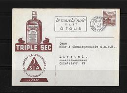 "HEIMAT WAADT → 1943 Korrespondenzkarte JSA-Import Lausanne Mit Werbung  ""Triple Sec"" - Lettres & Documents"