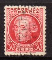 SPAIN ESPAÑA SPAGNA 1935 GASPAR MELCHOR DE JOVELIANOS CENT. 30c USATO USED OBLITERE' - 1931-Aujourd'hui: II. République - ....Juan Carlos I