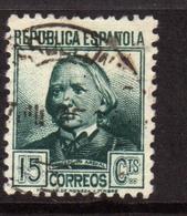 SPAIN ESPAÑA SPAGNA 1935 CONCEPCION ARENAL CENT. 15c USATO USED OBLITERE' - 1931-50 Oblitérés