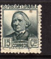 SPAIN ESPAÑA SPAGNA 1935 CONCEPCION ARENAL CENT. 15c USATO USED OBLITERE' - 1931-Aujourd'hui: II. République - ....Juan Carlos I