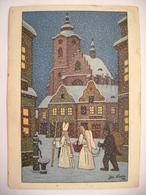 Czech Painter Josef Lada - Czech Winter, Saint Nicholas With Angel And Devil - Christmas Greetings - Posted 1951 - Malerei & Gemälde