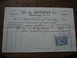1875 Saint Germain Haute Saone Mathiot Vin   Facture Illustree Timbre Fiscal - 1900 – 1949